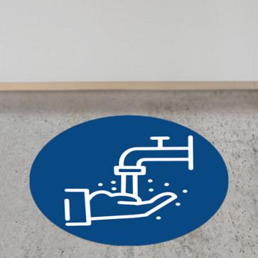 """Corona Bodenaufkleber rund DIN """"Hände waschen"""""""