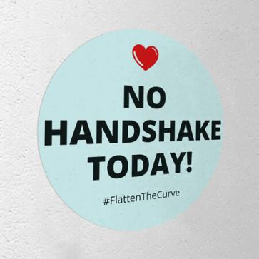 """Corona Aufkleber rund """"No Handshake Today"""""""