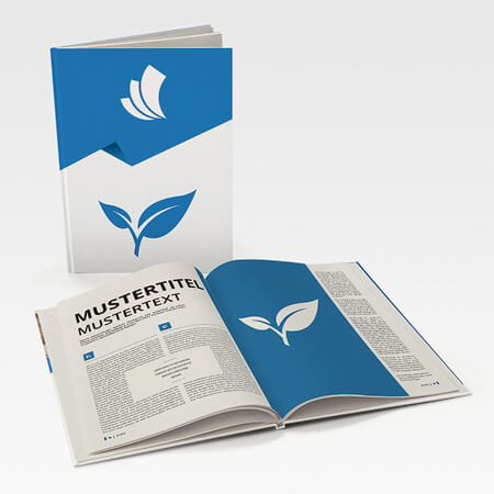 Broschüren mit Recyclingpapier (Hardcover Klebebindung)