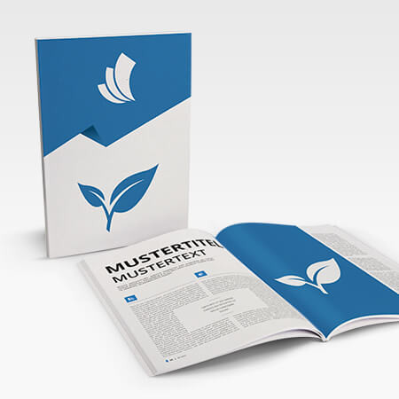 Broschüren mit Recyclingpapier (Softcover Klebebindung)