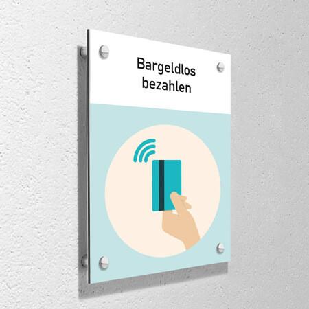 """Corona Schild """"Bargeldlos bezahlen"""" mit Wandmontage-Set"""