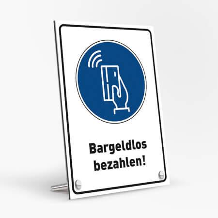 """Corona Schild DIN """"Bargeldlos bezahlen"""" mit Tischaufsteller-Set"""