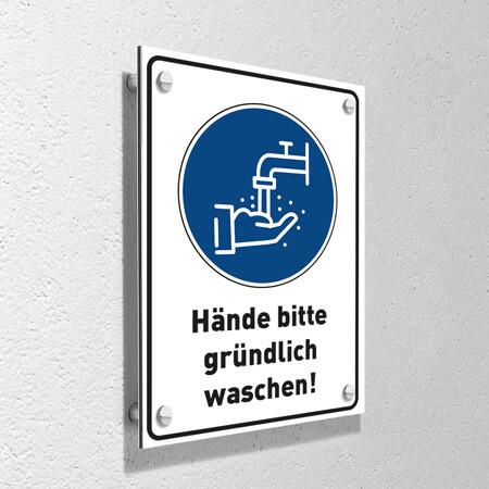 """Corona Schild DIN """"Hände waschen"""" mit Wandmontage-Set"""
