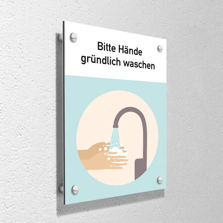"""Corona Schild """"Hände waschen"""" mit Wandmontage-Set"""