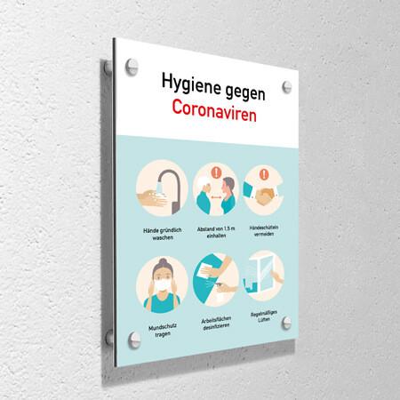 "Corona Schild ""Hygiene"" mit Wandmontage-Set"