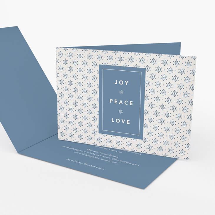 Weihnachtskarte Joy Peace Love